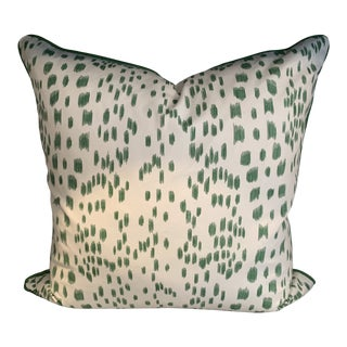 Contemporary Brunschwig & Fils Les Touchés Pillow With Green Welt For Sale