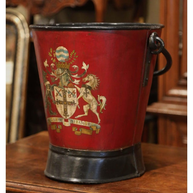 19th Century French Black and Red Iron Coal Basket With Decorative Painted Decor For Sale - Image 4 of 11