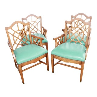 Vintage Chinese Chippendale Wooden Fretwork Dining Arm Chairs - Set of 4 For Sale