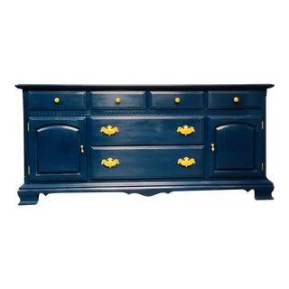 Vintage Ethan Allen Blue Painted Sideboard or Dresser For Sale