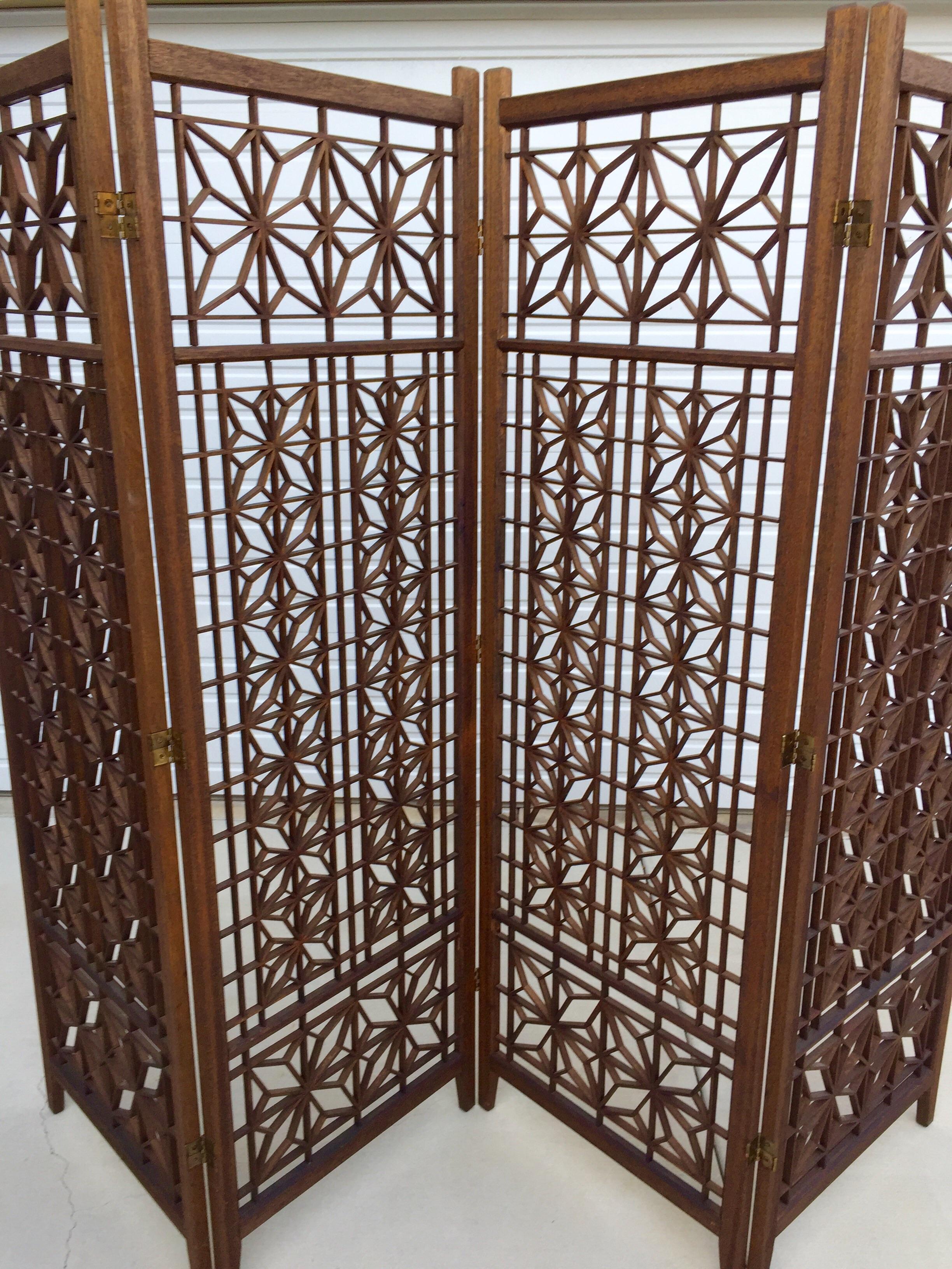 Geometric Wood Room Divider Screen   Image 5 Of 5