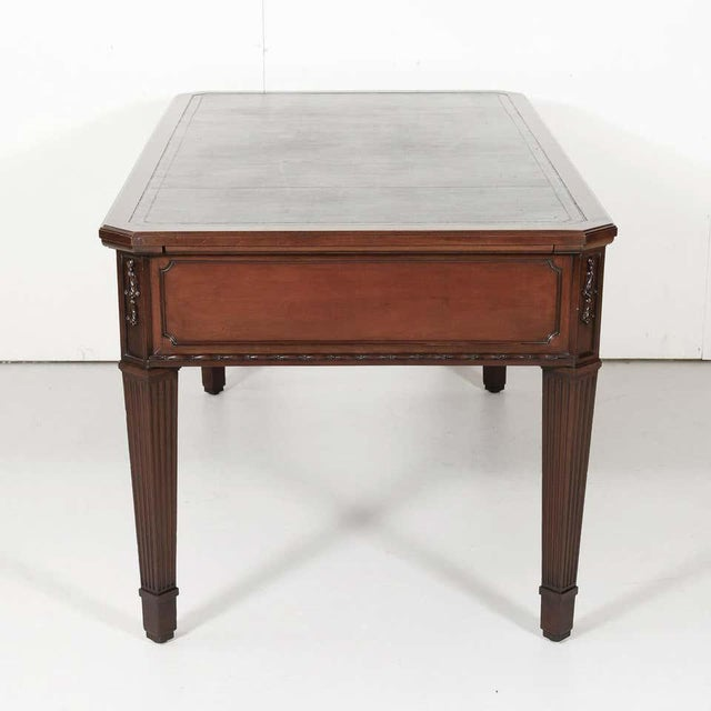 Metal 19th Century French Louis XVI Style Walnut Bureau Plat or Desk With Leather Top For Sale - Image 7 of 13