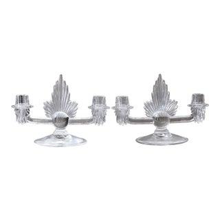 Vintage Art Deco Clear Glass Candlesticks - a Pair For Sale