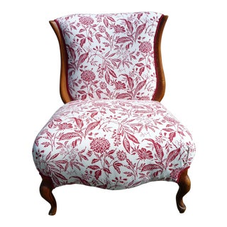 Mid-Century Provincial Red Floral Slipper Chair For Sale