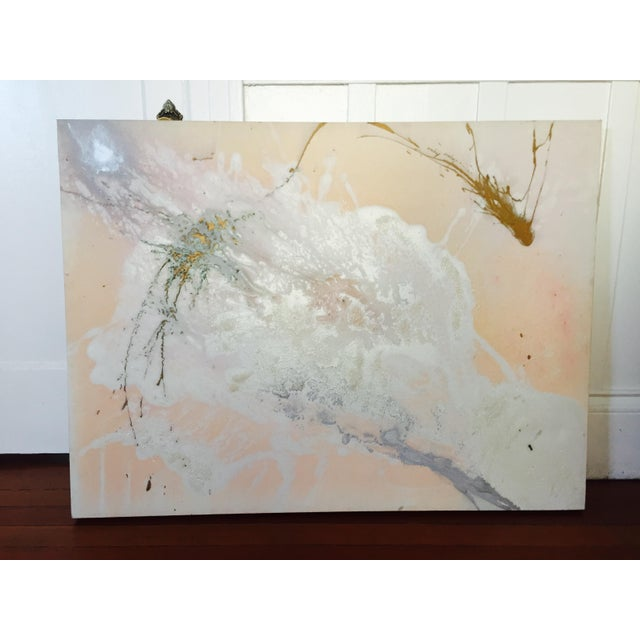 """Jacqueline Angove """"Peach Rose"""" Mixed Media Painting - Image 2 of 13"""