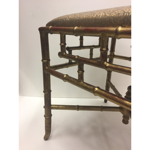 Gold 1960s Vintage Gilt Iron Faux Bamboo Ottoman Bench For Sale - Image 8 of 10