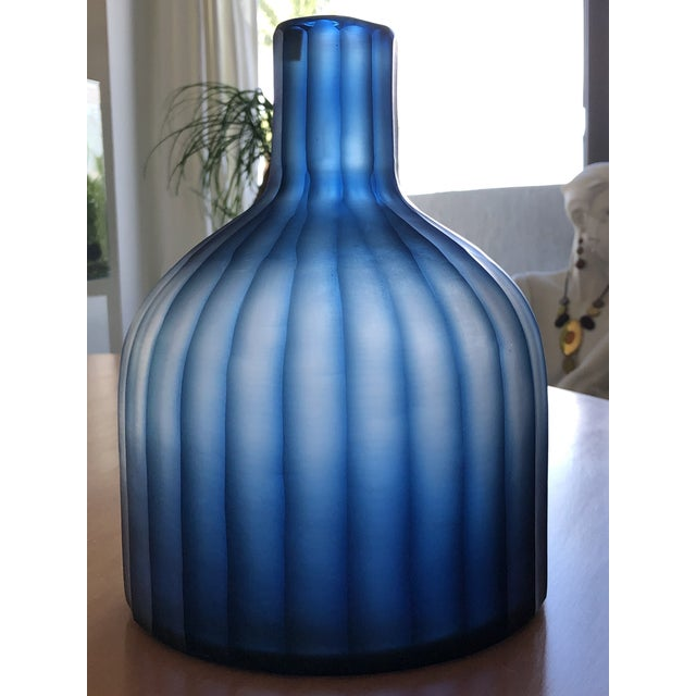 """Discontinued Large Mercana Marier 2 Blue Heavy Glass Vase 10"""" Tall. Used, in mint condition. This vase casts a stunning..."""
