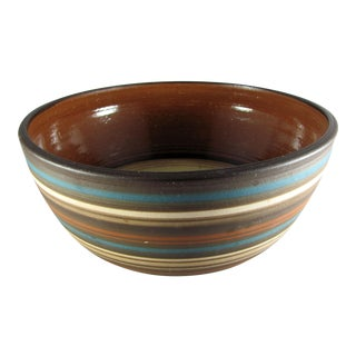 Rina Blue & Brown Striped Studio Art Pottery Bowl For Sale