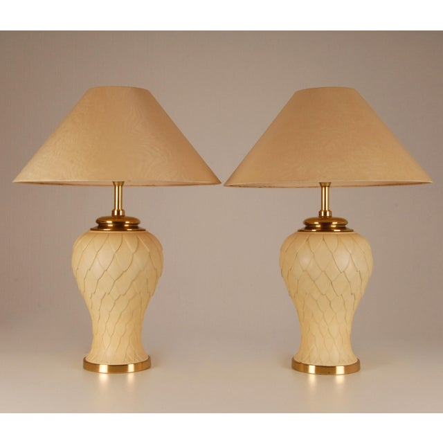 1970s Mid-Century Hollywood Regency Gilt Brass and Metal Table Lamps Vase Lamps - a Pair For Sale - Image 10 of 10