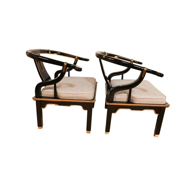 Early 20th Century Chinese Style Black Horseshoe Chairs James Mont for Century For Sale - Image 5 of 11