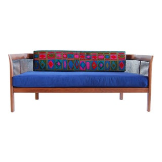 Upholstered Walnut Settee by Erwin Lambeth For Sale