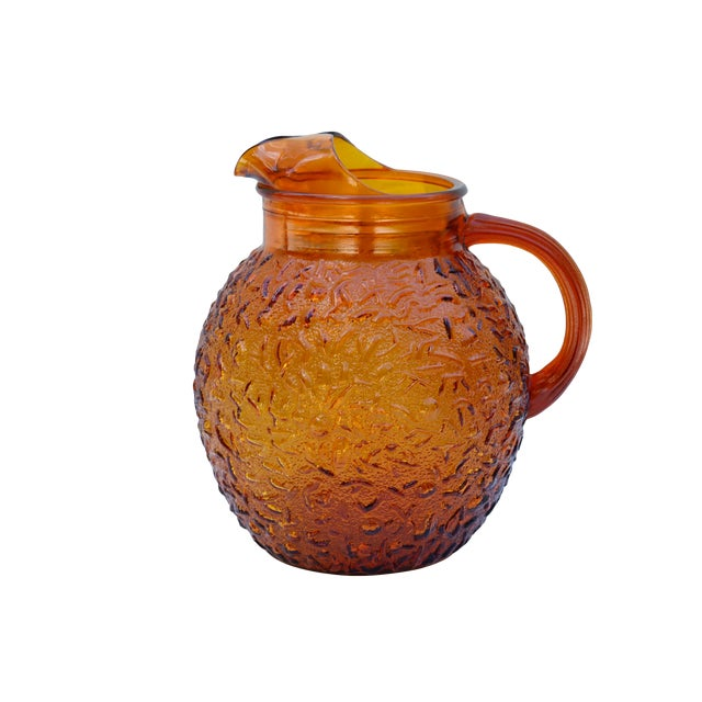 Anchor Hocking Textured Glass Pitcher in Amber For Sale