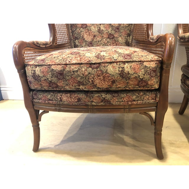 1990s Vintage Ethan Allen Faux Bamboo Rattan Cane Wingback Arm Chairs- A Pair For Sale - Image 10 of 12