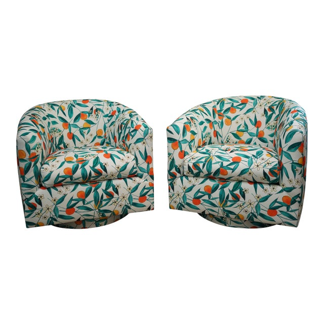 Vintage Mid-Century Baughman Style Swivel Chairs- A Pair For Sale