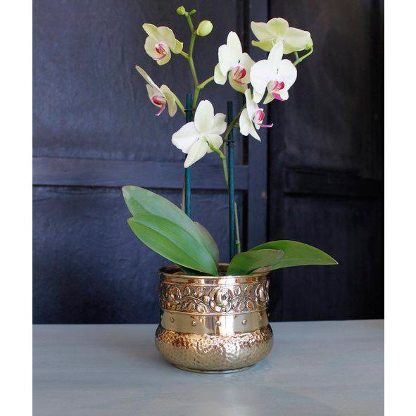 Small English Brass Repoussé Cachepot - Image 6 of 7