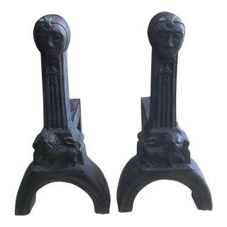 Antique Gothic / Arts and Crafts Figural Cast Iron Andirons - a Pair For Sale