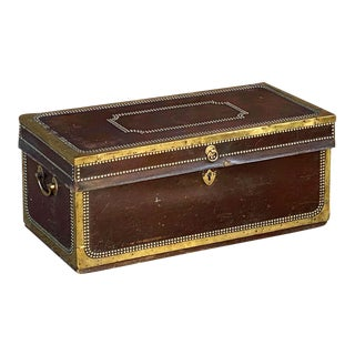 English Campaign Trunk of Brass-Bound Leather and Camphor Wood, Circa 1820 For Sale