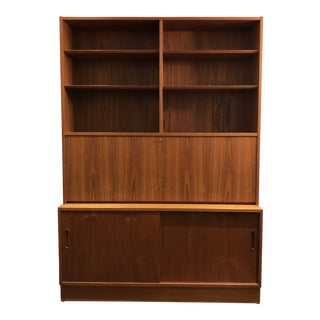 Hundrvad Danish Teak Wall Unit With Drop Down Desk - 2 Pieces For Sale