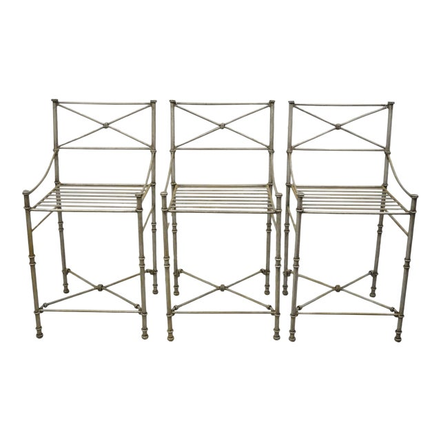 Late 20th C Pier 1 Medici Pewter Wrought Iron Counter Bar Stools - Set of 3 For Sale