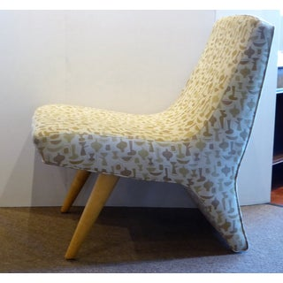 "Modern and Unsual Lounge Chair Upholstered in George Nelson's ""China Shop"""