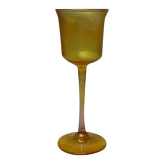 Tiffany Iridescence Gold Favrile Cordial Thumbprint Dimple Vase For Sale