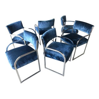 Milo Baughman Chrome Armchairs for Thayer Coggin Set of 6