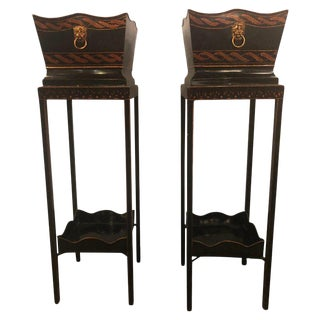 Georgian Style Tole Jardinières or Planters on Shelved Pedestals - A Pair For Sale