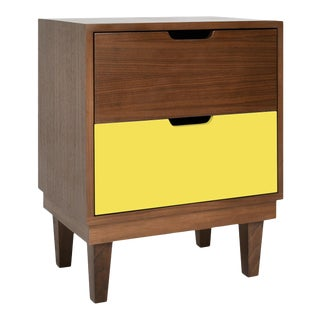 Kabano Modern Kids 2-Drawer Nightstand in Walnut With Yellow Finish For Sale