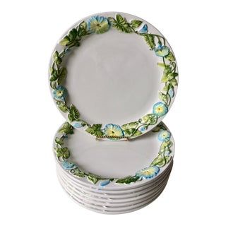 8 Italian Faience Dinner Plates-Morning Glories For Sale