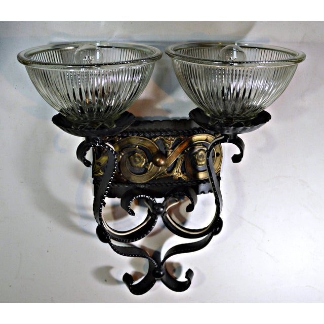 Mid 20th Century Two Light Egyptian Motif Sconce For Sale - Image 5 of 6