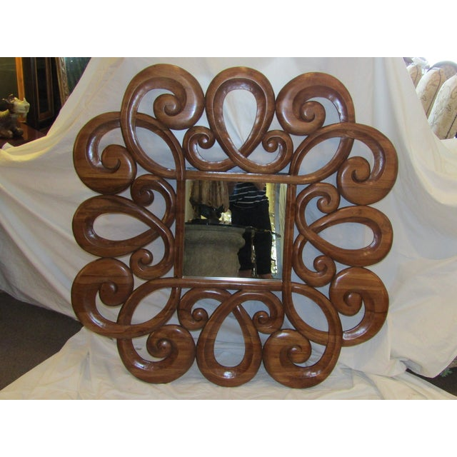 Wood Scroll Design Mirror - Image 2 of 4