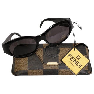 Fendi Black Framed Sunglasses and Logo Case, Never Worn For Sale