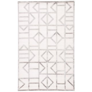 """Jaipur Living Cannon Geometric White/ Silver Area Rug - 5' X 7'6"""" For Sale"""