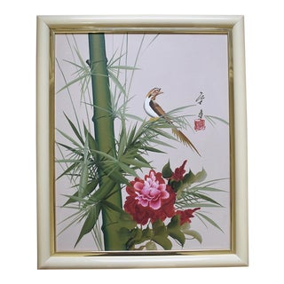 Hand Painted Chinoiserie Floral Bird Painting