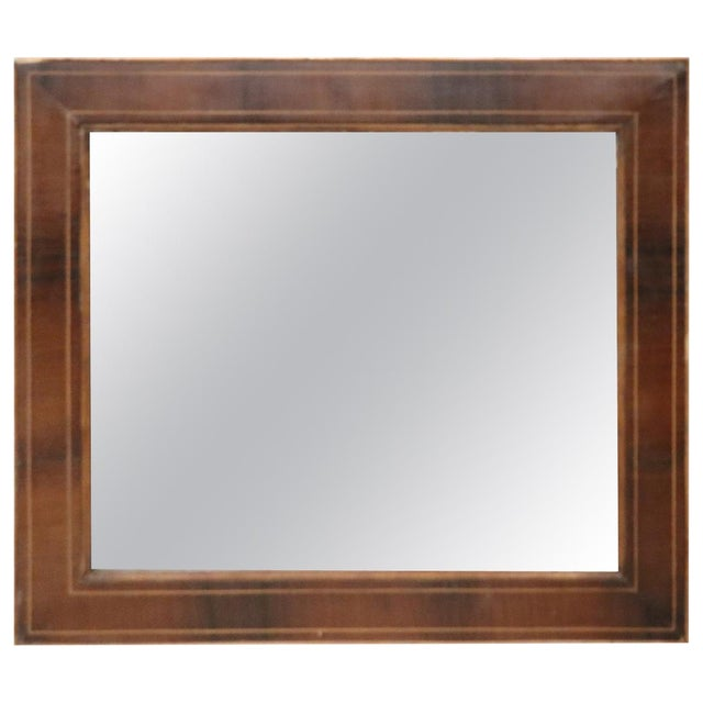 19th Century Italian Charles X Inlay Walnut Wall Mirror For Sale