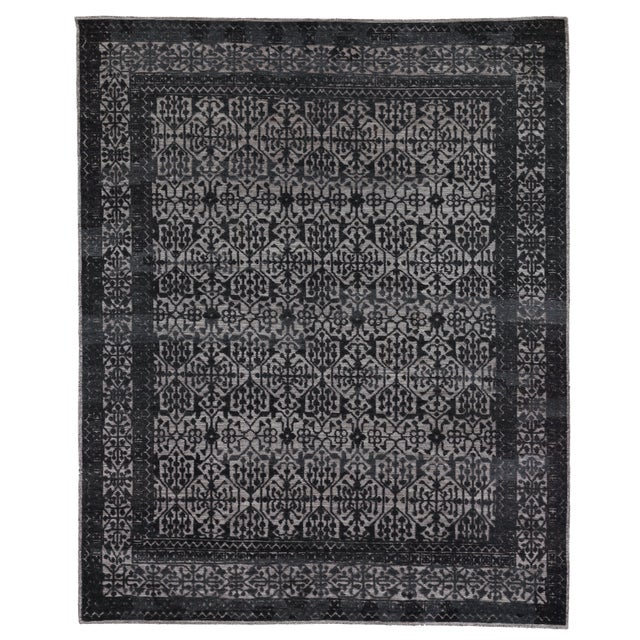 Buckingham Navy Blue Hand knotted Wool Area Rug - 6'x9' For Sale