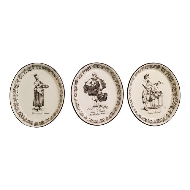 Vintage Mottahedeh Black Transfer Wall Plates - Set of 3 For Sale