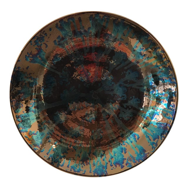 Artist Blue and Bronze Abstract Decorative Platter - Image 1 of 8