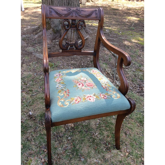 Regency Floral Needlepoint Harp Arm Chair - Image 3 of 7