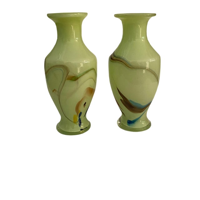 Italian Mid Century Art Glass Green Vases - a Pair For Sale - Image 3 of 6