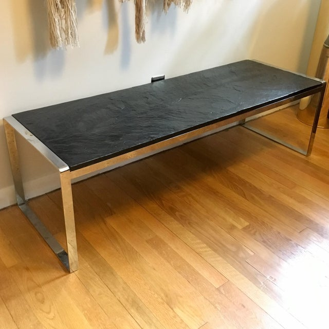 Mid Century Stainless Steel & Slate Bench For Sale - Image 9 of 9