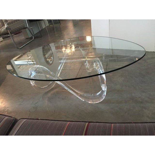 Modernist Sculptural Lucite Base and Glass-Top Coffee Table - Image 2 of 6