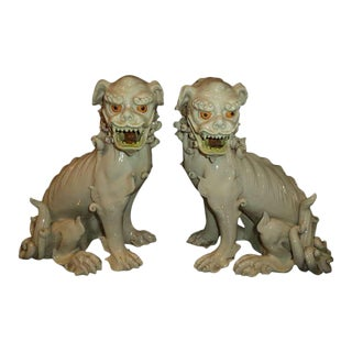 19th Century Porcelain Foo Dogs - a Pair For Sale
