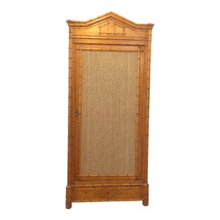 Vintage French Faux Bamboo One Door Armoire For Sale