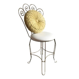 1950s Hollywood Regency White Vanity Chair with Cushion For Sale
