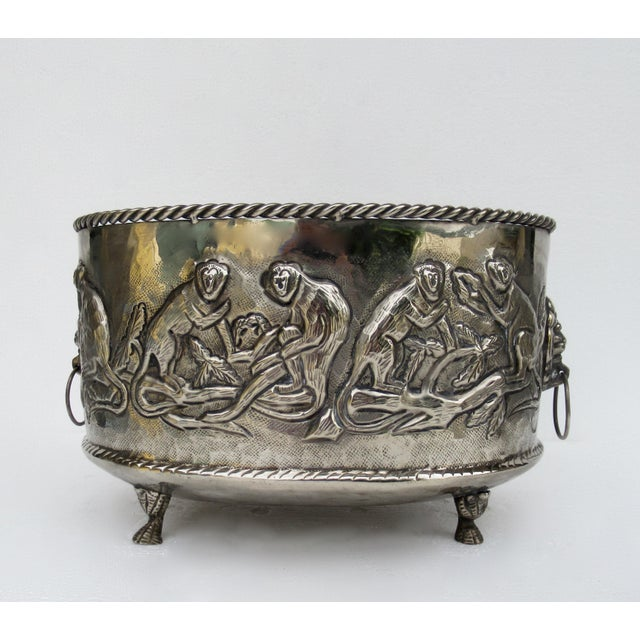 Castilian Hammered Silver Monkey Embossed Centerpiece Jardiniere, Planter For Sale - Image 13 of 13