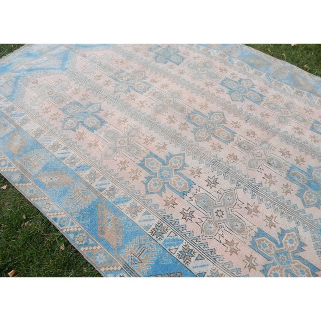 Vintage Distressed Turkish Oushak Rug 6′3″ × 8′8″ For Sale In Dallas - Image 6 of 13