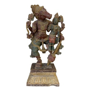 Antique Carved Deity Wood Figure + Stand For Sale