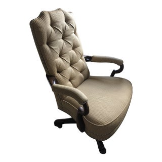 Traditional High Back Desk Chair With Nailhead Trim For Sale