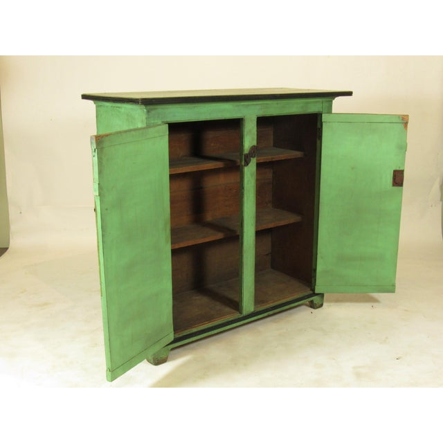 Early 19th Century 19th C. American Green Painted Cupboard For Sale - Image 5 of 12